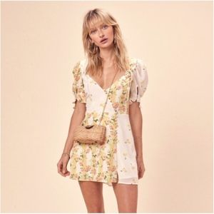 NWT Yellow Floral Cherry Print Mini Dress